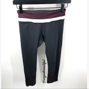 Lululemon Crops Burgundy/White Accents